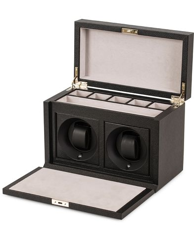 Smythson Panama 2 Tray Watch Box Black Printed Calf  i gruppen Assesoarer / Livsstil / Klokke- og smykkeskrin hos Care of Carl (13140710)
