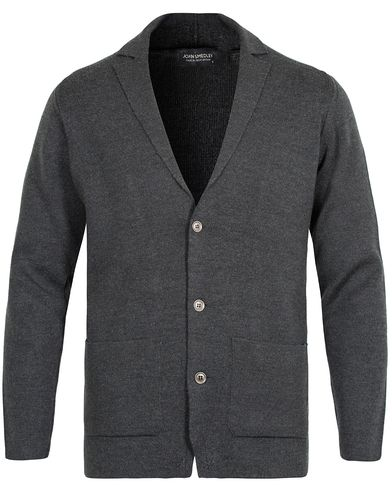 John Smedley Oxland Extra Fine Merino Blazer Charcoal i gruppen Design A / Tröjor / Cardigans hos Care of Carl (13144311r)