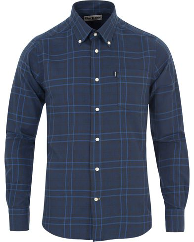 Barbour Lifestyle Seth Tailored Fit Flannel Check Shirt Indigo i gruppen Skjorter / Casual Skjorter hos Care of Carl (13148311r)