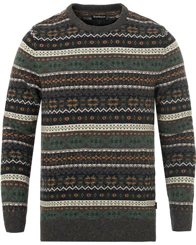 Barbour Lifestyle Orford Fairisle Crew Neck Charcoal i gruppen Gensere / Strikkede gensere hos Care of Carl (13148711r)