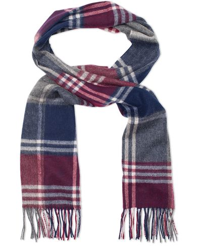 Barbour Lifestyle Lambswool Kindar Check Scarf Bordeux/Grey  i gruppen Assesoarer / Skjerf hos Care of Carl (13149410)