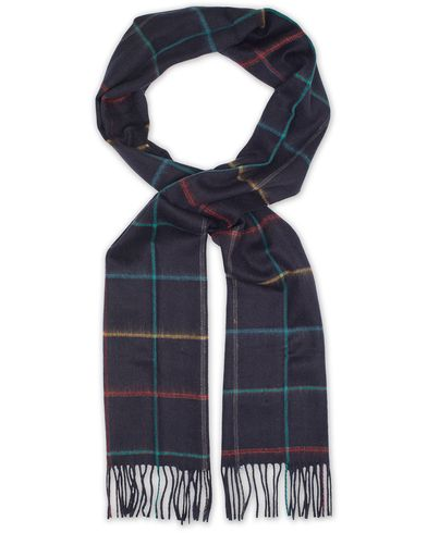 Barbour Lifestyle Lambswool Hetton Tattersall Scarf Navy  i gruppen Accessoarer / Halsdukar hos Care of Carl (13149610)