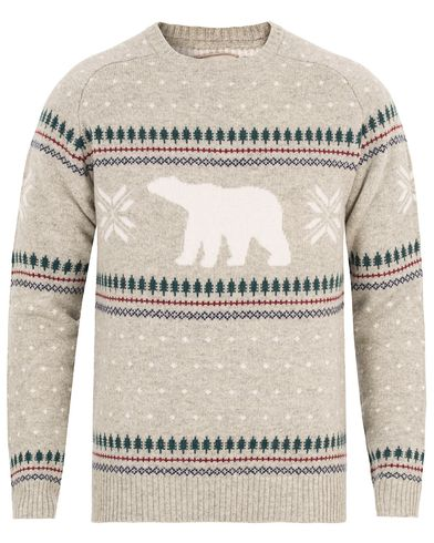 Lexington Forrest Christmas Sweater Light Warm Grey Melange i gruppen Tr�jor / Stickade Tr�jor hos Care of Carl (13156311r)
