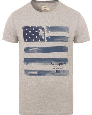 Lexington Simon Printed Tee Heather Grey Melange i gruppen T-Shirts / Kortermede t-shirts hos Care of Carl (13156511r)