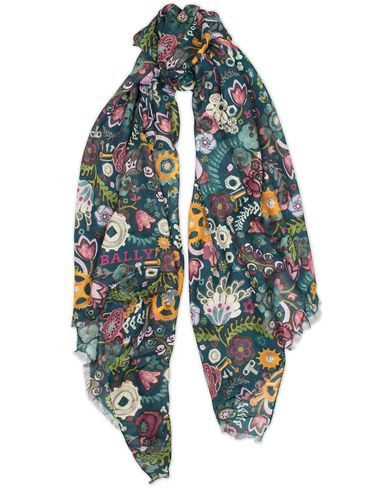 Bally Floral Print Lady Modal Scarf Dark Teal  i gruppen Design A / Assesoarer hos Care of Carl (13157910)