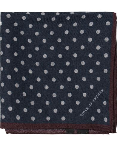 Tiger of Sweden Lariosa Dot Wool Pocket Square Navy  i gruppen Accessoarer / N�sdukar hos Care of Carl (13161110)