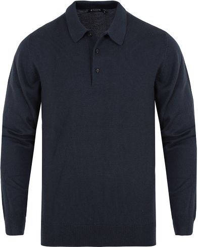 Tiger of Sweden Fender Knitted Polo Navy i gruppen Pikéer / Langermet piké hos Care of Carl (13165211r)