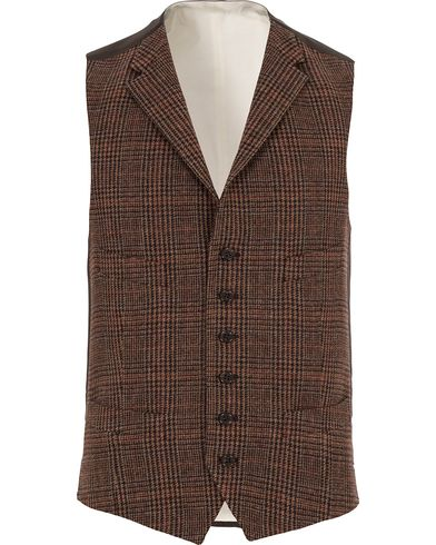 Polo Ralph Lauren Clothing Glen Check Waistcoat Rust Brown i gruppen Dressjakker / Vester hos Care of Carl (13167211r)
