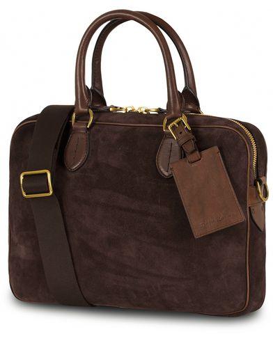 Ralph Lauren Purple Label Crossbody Briefcase Espresso Suede  i gruppen Accessoarer / Väskor / Portföljer hos Care of Carl (13168610)