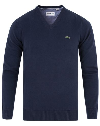 Lacoste Cotton Pullover V-Neck Navy i gruppen Klær / Gensere / Pullover / Pullovers v-hals hos Care of Carl (13173011r)