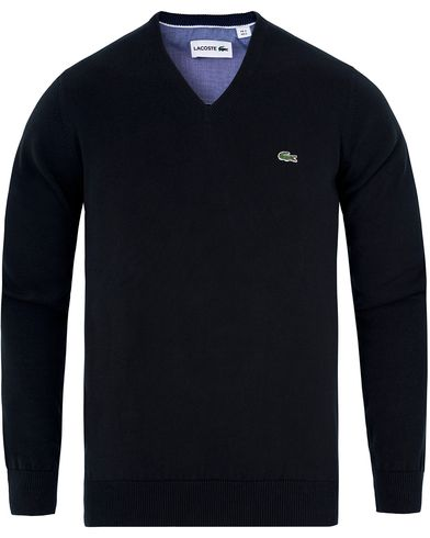 Lacoste Cotton Pullover V-Neck Black i gruppen Tröjor / Pullovers / V-ringade pullovers hos Care of Carl (13173111r)