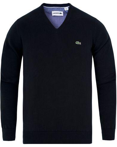 Lacoste Cotton Pullover V-Neck Black i gruppen Gensere / Pullover / Pullovers v-hals hos Care of Carl (13173111r)
