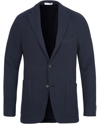 Boglioli Wool Knitted K-Jacket Patch Pocket Blazer  Navy i gruppen Klær / Dressjakker / Enkeltspente dressjakker hos Care of Carl (13178611r)