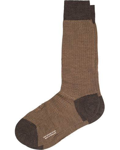 Pantherella Finsbury Wool/Nylon Herringbone Sock Brown Mix i gruppen Underkläder / Strumpor / Vanliga strumpor hos Care of Carl (13178811r)