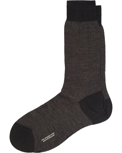 Pantherella Finsbury Wool/Nylon Herringbone Sock Black i gruppen Undert�y / Sokker hos Care of Carl (13178911r)
