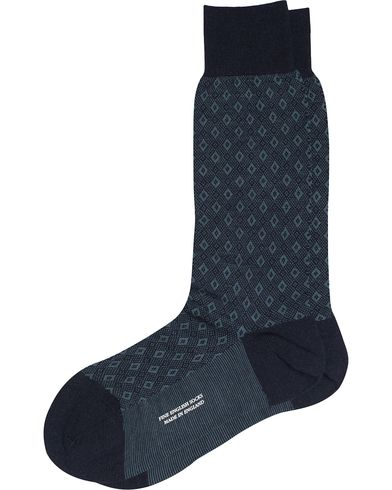 Pantherella Belford Bird's Eye Wool/Nylon Sock Navy i gruppen Undertøy / Sokker / Vanlige sokker hos Care of Carl (13179111r)