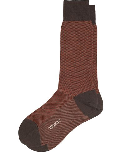 Pantherella Blenheim Wool/Nylon Structured Sock Chocolate i gruppen Undertøy / Sokker / Vanlige sokker hos Care of Carl (13179511r)