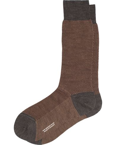 Pantherella Blenheim Wool/Nylon Structured Sock Dark Grey Mix i gruppen Underkläder / Strumpor / Vanliga strumpor hos Care of Carl (13179611r)