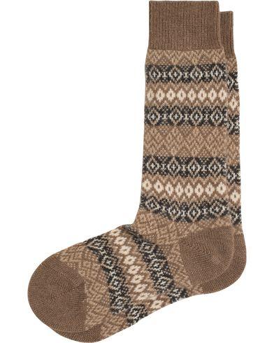 Pantherella Fenton Fair Isle Cashmere Sock Mink Melange i gruppen Kläder / Underkläder / Strumpor hos Care of Carl (13179711r)