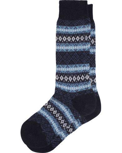 Pantherella Fenton Fair Isle Cashmere Sock Navy i gruppen Undertøy / Sokker / Vanlige sokker hos Care of Carl (13179811r)