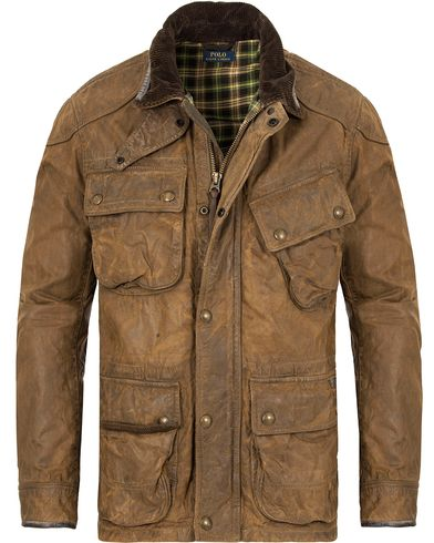Polo Ralph Lauren Biker Jacket Natural Brown i gruppen Jakker / Voksede jakker hos Care of Carl (13185811r)