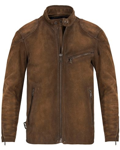 Polo Ralph Lauren Cafe Racer Suede Jacket Smith Brown i gruppen Jakker / Skinnjakker hos Care of Carl (13185911r)