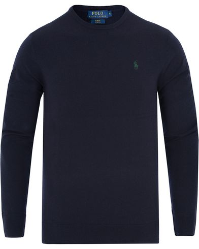 Polo Ralph Lauren Stretch Merino Crew Neck Pullover Hunter Navy i gruppen Gensere / Pullover / Pullovere rund hals hos Care of Carl (13186711r)