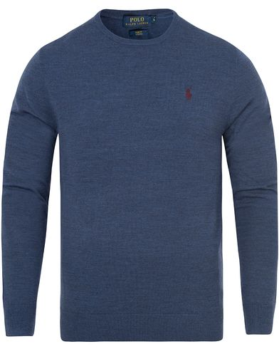 Polo Ralph Lauren Stretch Merino Crew Neck Pullover Shale Blue i gruppen Tröjor / Pullovers / Rundhalsade pullovers hos Care of Carl (13186811r)