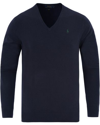 Polo Ralph Lauren Stretch Merino V-neck Pullover Hunter Navy i gruppen Kläder / Tröjor / Pullovers / V-ringade pullovers hos Care of Carl (13187111r)