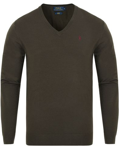 Polo Ralph Lauren Stretch Merino V-neck Pullover Dark Loden i gruppen Gensere / Pullover / Pullovers v-hals hos Care of Carl (13187211r)