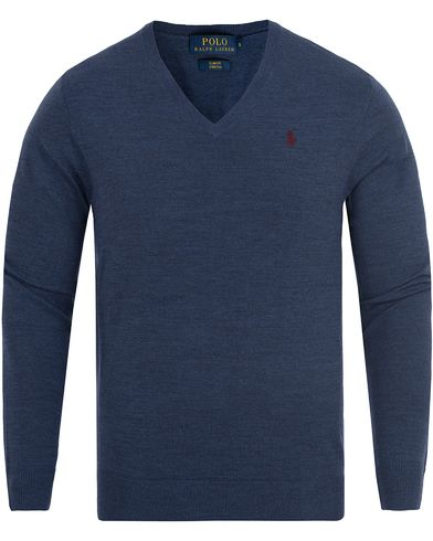 Polo Ralph Lauren Stretch Merino V-neck Pullover Shale Blue i gruppen Design A / Gensere / Pullover / Pullovers v-hals hos Care of Carl (13187311r)
