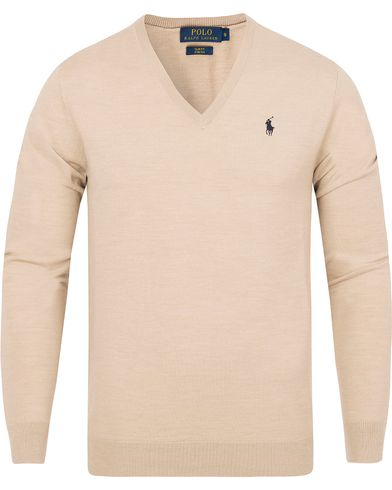 Polo Ralph Lauren Stretch Merino V-neck Pullover Oatmeal i gruppen Tröjor / Pullovers / V-ringade pullovers hos Care of Carl (13187511r)