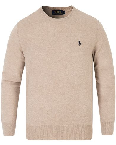 Polo Ralph Lauren Lux Merino Crew Neck Pullover Oatmeal Ragg i gruppen Tröjor / Pullovers / Rundhalsade pullovers hos Care of Carl (13187811r)