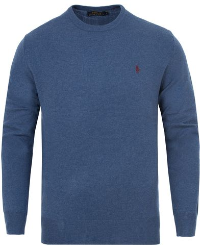 Polo Ralph Lauren Lux Merino Crew Neck Pullover Shale Bue i gruppen Tröjor / Pullovers / Rundhalsade pullovers hos Care of Carl (13188011r)