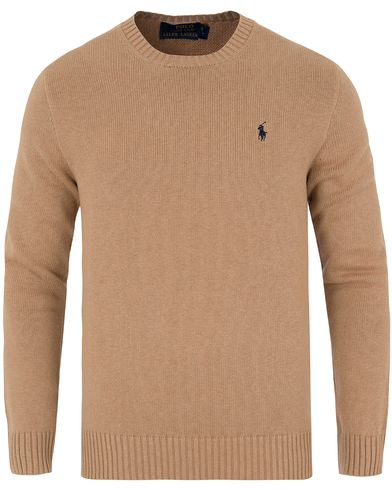 Polo Ralph Lauren Cotton Crew Neck Sweater Camel Melange Heather i gruppen Tr�jor / Pullover / Pullover Rundhals hos Care of Carl (13189211r)