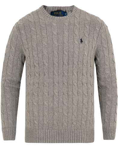 Polo Ralph Lauren Cotton Cable Crew Neck Pullover Fawn Grey Heather i gruppen Klær / Gensere / Strikkede gensere hos Care of Carl (13189611r)