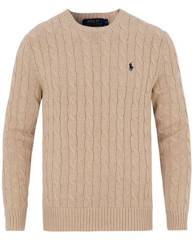 Polo Ralph Lauren Cotton Cable Crew Neck Pullover Oatmeal i gruppen Gensere / Strikkede gensere hos Care of Carl (13189711r)
