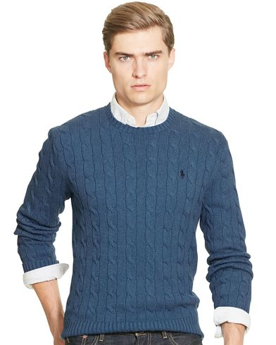 Polo Ralph Lauren Cotton Cable Crew Neck Pullover Night Blue Heather i gruppen Gensere / Strikkede gensere hos Care of Carl (13189911r)
