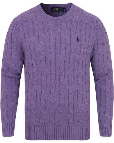Polo Ralph Lauren Cotton Cable Crew Neck Pullover Safari Purple i gruppen Tröjor / Stickade tröjor hos Care of Carl (13190011r)