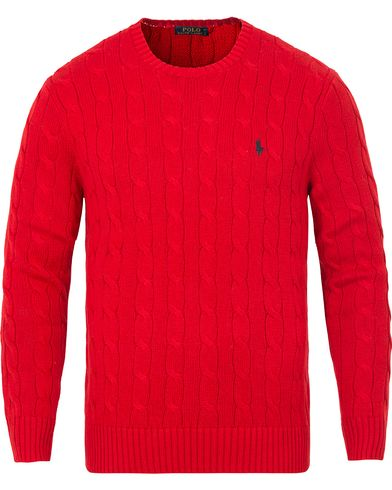 Polo Ralph Lauren Cotton Cable Crew Neck Pullover Martin Red i gruppen Tröjor hos Care of Carl (13190111r)