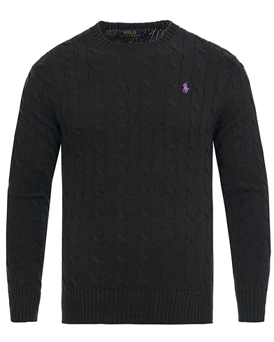 Polo Ralph Lauren Cotton Cable Crew Neck Pullover Polo Black i gruppen Design A / Gensere / Strikkede gensere hos Care of Carl (13190211r)