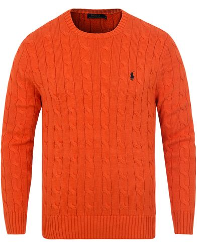 Polo Ralph Lauren Cotton Cable Crew Neck Pullover Coastal Orange i gruppen Tröjor / Stickade tröjor hos Care of Carl (13190311r)
