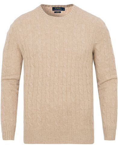 Polo Ralph Lauren Cashmere Knitted Cable Oatmeal i gruppen Tröjor / Stickade tröjor hos Care of Carl (13191111r)