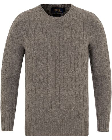Polo Ralph Lauren Cashmere Knitted Cable Fawn Grey Heather i gruppen Tröjor / Stickade tröjor hos Care of Carl (13191211r)