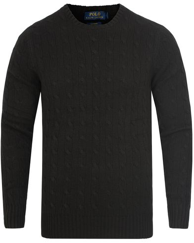 Polo Ralph Lauren Cashmere Knitted Cable Polo Black i gruppen Kläder / Tröjor / Stickade tröjor hos Care of Carl (13191311r)