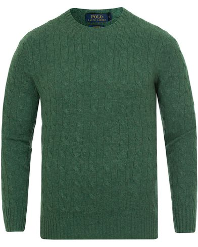 Polo Ralph Lauren Cashmere Knitted Cable Baron Green Heather i gruppen Kläder / Tröjor / Stickade tröjor hos Care of Carl (13191411r)