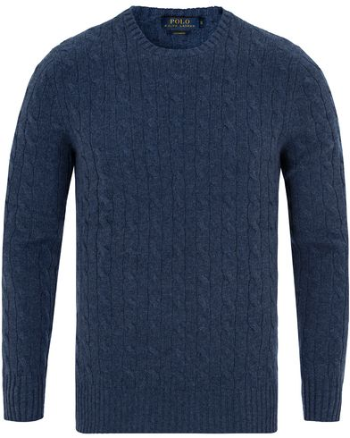 Polo Ralph Lauren Cashmere Knitted Cable Shale Blue Heather i gruppen Tr�jor / Stickade Tr�jor hos Care of Carl (13191511r)