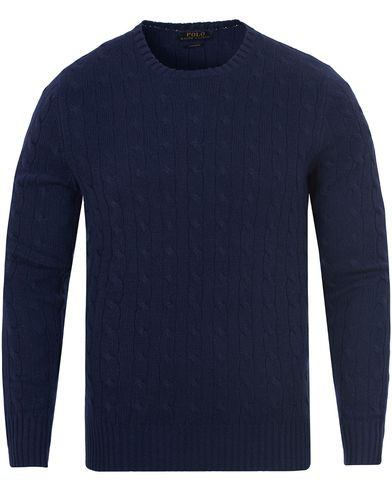 Polo Ralph Lauren Cashmere Knitted Cable Bright Navy i gruppen Gensere / Strikkede gensere hos Care of Carl (13191611r)