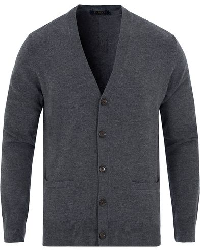 Polo Ralph Lauren Lux Merino Elbow Patch Cardigan Coal Heather i gruppen Kläder / Tröjor / Cardigans hos Care of Carl (13191811r)