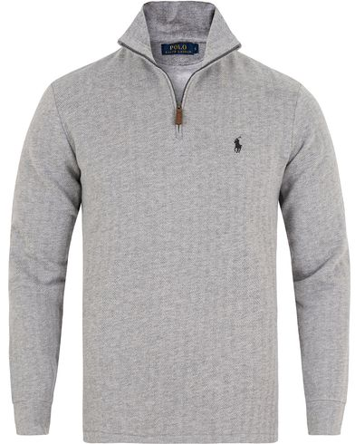 Polo Ralph Lauren Herringbone Half Zip Sweater Grey i gruppen Tröjor / Zip-tröjor hos Care of Carl (13192011r)